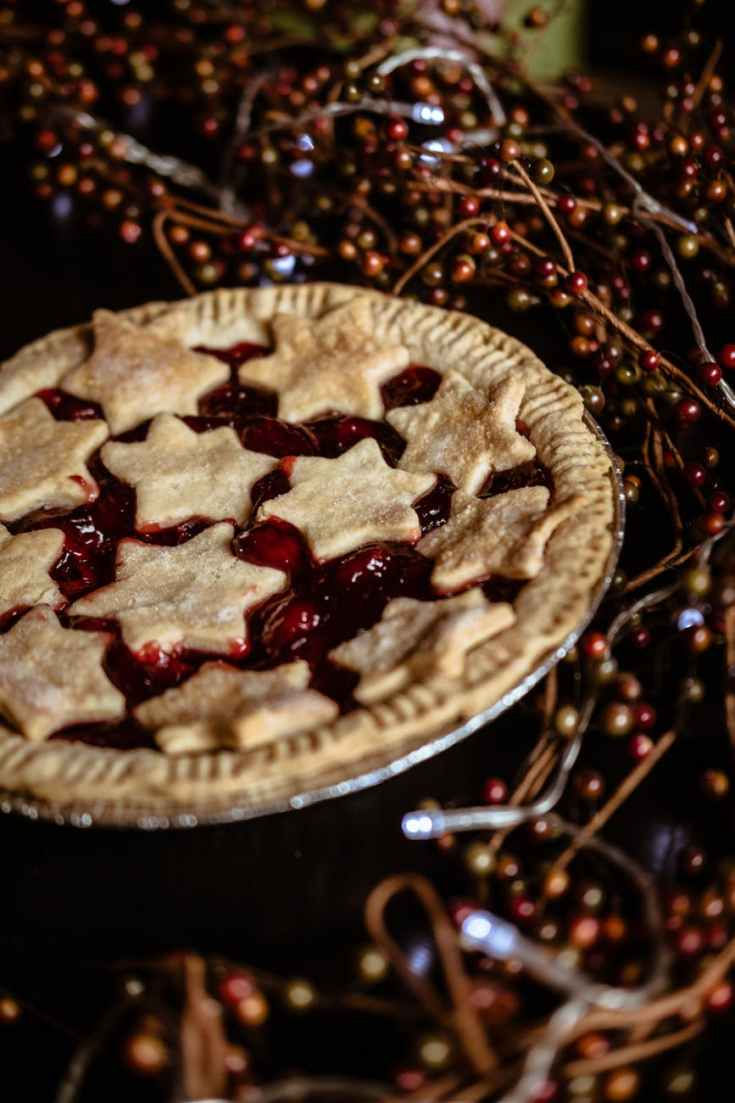 cherry pie with stars on top